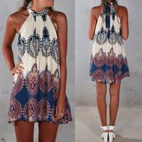 Mulheres verão praia mini vestido de verão senhoras casual mangas balanço boho vestido curto
