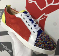 Designer Sneakers Red bottom Spikes Flat Velours Suede Sneak...