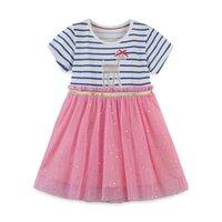 Cartoon filles Princesse Robe rayée enfants enfants coton à manches courtes Points Diamant Brillant Gaze tutu jupe T Jupe monopièce Robes CZ229