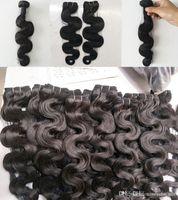 O cabelo humano do Virgin brasileiro indiano malaio peruano tece a cor natural da onda do corpo de 3 ou 4 pacotes, livra DHL