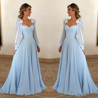 New Blue Sky Mãe off noiva dressesSweetheart mangas compridas chiffon Feather flores borlas Plus Size Formal Convidado de Casamento Vestido Mães