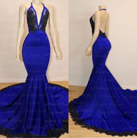 Royal Blue Halfter Lange Ballkleider 2019 Elegante Spitze Applique Geraffte Backless Bodenlangen Formale Party Abendkleider