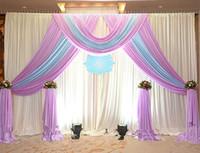3 متر * 3 متر الجليد الحرير الزفاف خلفية الستار مع سوجس الدعائم الزفاف الساتان الستارة مطوي مرحلة زينة الزفاف الخلفيات