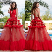 2019 Red See Through Prom Dresses Deep V Neck Sheer Zipper B...