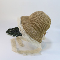 Blumen schnüren Jungen Mädchen Strohhüte Sommersonnenhüte für Kinder Kinder-Strand-Hüte Lange Band-Kinder-Sonnenschutz Cap VT0136