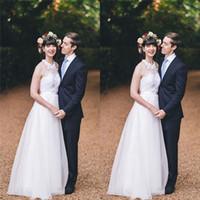 Weiße Halftel Tüll A-line Brautkleider mit Applikationen Bridal Brautkleider Vestido de Novia Brautkleider