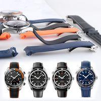 20mm 22mm Bracelet de Montre Bandes Orange Noir Bleu Étanche Silicone En Caoutchouc Bandes Bracelet Fermoir Boucle Pour Omega Planet Ocean Outils