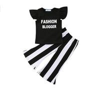 2019 nuevos bebés niñas trajes de verano ropa de moda para niños establece niños carta impresa camiseta + raya pantalones de campana inferior 2 unids trajes Y2251