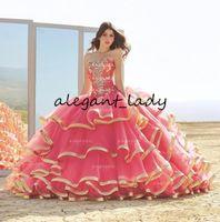 Бального платье Милого арбуза Quinceanera платье бисер Многоуровневой юбка кружево Платье De Festa корсет на шнуровке сладкого 15 платья
