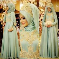 Adaçayı Şifon Müslüman Balo Resmi Elbiseler Uzun Kollu ile 2019 Yüksek Boyun Altın Dantel Nakış Orta Doğu Durum Akşam elbise