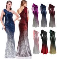 Angel-Fashions Gradient Sequin Party Gownワンショルダーセルフネクタイシフォン女性ロングマーメイドイブニングドレス286 PROM