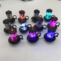 새로운 창조적 인 할로윈 인간의 해골 호박 작은 랜턴 LED 전자 발광 반짝이 멀티 컬러 파티 용품 뜨거운 판매 3 8cy