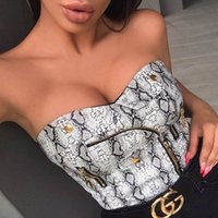 Womens Tee 2019 Spring and Summer New Sexy Snake Print Navel...
