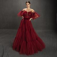 멋진 부르고뉴 반짝이 이브닝 드레스 투명한 보석 목 반 소매 댄스 파티 드레스 드 청소 기차는 플러스 사이즈 튤 드레스