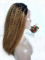 Honig blonde lockige ombre menschliche haarperücken farbig t1b / 27 peruanische geflochtene spitze frontperücke kinky lockige glueless volle spitzeperücke für schwarze frauen
