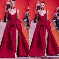 Elie Saab Dress 2020 Fronte Spaghetti vestiti da sera sexy rosso Split increspature Pagenat Celebrity abiti Una linea Runway Fashion Prom