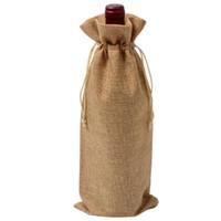 سلال معلقة 12 قطع دائم أكياس النبيذ غير المنسوجة نسيج الكتان الأحمر زجاجة زجاج حقيبة سفر الحقيبة هدية حفلات الزفاف التعبئة والتغليف قابلة لإعادة الاستخدام