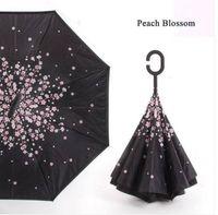 atacado transporte livre invertido guarda-chuva à prova de vento reverso / Mulheres Proteção UV Upside alça para baixo C