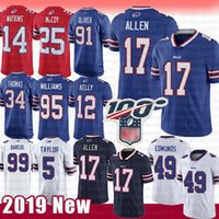 Billets de maillot de Buffalo 17 Josh Allen 49 Tremaine Edmunds 12 Jim Kelly 91 Oliver 95 Kyle Williams 34 Thomas McCoy Watkins Dareus Taylor Blanc