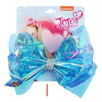 5.5 Inch Jojo Swia Hair Bows Shinny Florescence Color Boutique Arcos con diamantes de imitación Accesorios para el cabello Material de resina Cheerbow Bowknot