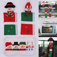 Las manija de la puerta de Navidad Adornos Nevera Nevera Perilla Decoración del muñeco de microonda horno microondas para Home Conjunto de 3