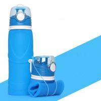 25 oz botella de agua plegable watter se divierte la botella reutilizable de alta calidad libre de BPA de silicona de grado alimenticio portátil de fugas de tambor torcedura Prueba Cap