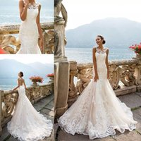 Sheer Mermaid Wedding Dresses Champagne Lining Bateau Neck Sleeveless Full Lace Appliqued Plus Size Bridal Gowns for Wedding CG01