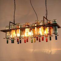 Vintage Retro Loft Vinflaska Iron Pendant Light American Creative Bar Iron Hanglamp Store Cafe Bar Lighting Fixture