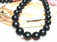 "Fine Pearls Jewelry 17 ""11-12mm REAL NATURAL round south sea NERO collana di perle 14K GOLD"