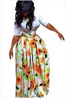 Vestido de diseñador de ropa de mujer de verano vestido de moda sexy floral africano impreso media longitud falda tamaño S-XL