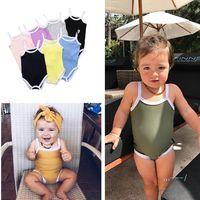 Jumpsuits Strampler Baby Kleidung Mädchen Strampler Solide Farbe Badeanzug SUPPENTE Sommer Dreieck Infant Klettern Kleidung Kinder Jumpsuits Günstige CZ422