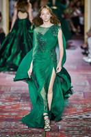 Zuhair Murad 2020 Collection Dark Green robes de bal à manches longues ras du cou en mousseline de soie balayage train occasion formelle Prom Party événement Robe PM0898