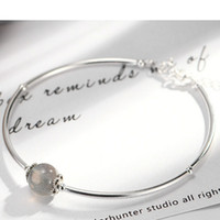 River Real S925 Sterling Silver Women Bangles Charm Moon Sto...
