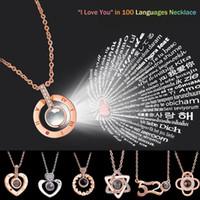 Rund Herz Speicher Halskette 17styles Kette 100 Sprachen Ich liebe dich 520 Projection Anhänger Romantische Schmuck Valentinstag Geschenk LJJA3403-6