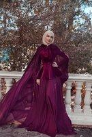 Фиолетовый линия шифон с длинным рукавом мусульманские элегантные вечерние платья рукава формальные платья вечернее высокое шею новые платья выпускного вечера 2019 с обертыванием E008