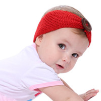 Cute Baby Button Headband Knitted Infant Turban Head Warm he...