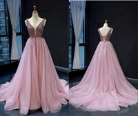 Fashion Dusty Rose Deep V neck Prom Dresses Crystal Beaded T...