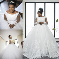 2019 Luxury Lace Ball Gown Wedding Dresses Bateau Neck Long ...