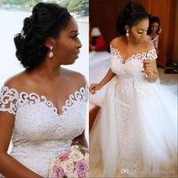 아프리카 나이지리아 인어 웨딩 드레스 분리형 기차 레이스 업 디자인 짧은 소매 신부 가운 드레스