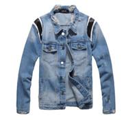 Yeni Fransa Stil Erkek Sıkıntılı Destroyed Deri Beyzbol Stil Moto Biker Yıkanmış Denim Mavi Ceket Palto