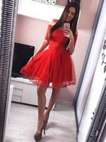Semplice Abiti da ritorno economici a buon mercato 2019 A-Line Off The Spalla Dress Party Dress Short Red Broad Strap Little Black Dress