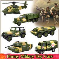 Legierung Druckguss Military Cars Spielzeug für Kinder Inertial Pull Back Fahrzeugmodell Hauptdekoration Educational Preschool Toys for Boys Party Favors