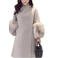 Fashion Fur Sleeve Winter Women Jacket 2017 New Wool Coat So...