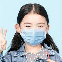 Одноразовые маски для лица для детей 3 слоя 3 слоя 50 шт 100 шт рот крышка маски синие маски ушная раковина нетканый материал