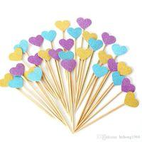 Arranjo New criativa Sobremesa Tabela amor bandeira Toothpick Bolo Coração 10 Piece Queque bonito de alta qualidade 1 5yr