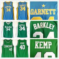 NCAA LEEDS Charles # 34 Barkley Jersey Green Farragut Kevin 34 Garnett Blue Jerseys Concord Shawn 40 Kemp High School كرة السلة قميص