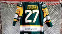 пользовательские зеленый желтый реальный реальный полный вышивка #27 Гумбольдт Бронкос Логан Буле Винтаж хоккей Джерси пользовательские любое имя и номер Джерси