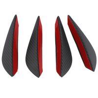 4 unids con fibra de carbono Color Fit Frontal Parachoques Divisor de labio Aletas Cuerpo Spoiler Canards Valence Chin