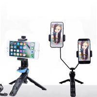 K4 portatile cellulare dual clip di cellulare palmare treppiede bipiede staffa vivo palmare selfie treppiede Holder proiettore telefono cellulare