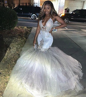 Silver Sexy V-Neck Mermaid Prom Dresses 2020 Spaghetti Straps African Long Formal Evening Gowns Graduation Party Dresses